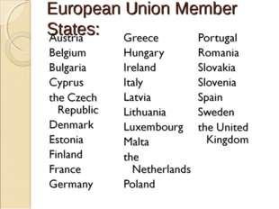 European Union Member States:
