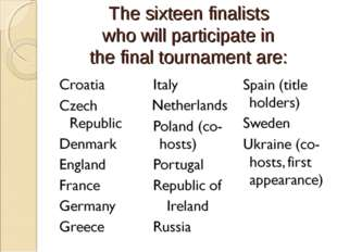 The sixteen finalists who will participate in the final tournament are:
