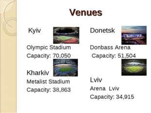 Venues Kyiv Olympic Stadium Capacity: 70,050 Kharkiv  Metalist Stadium Capa
