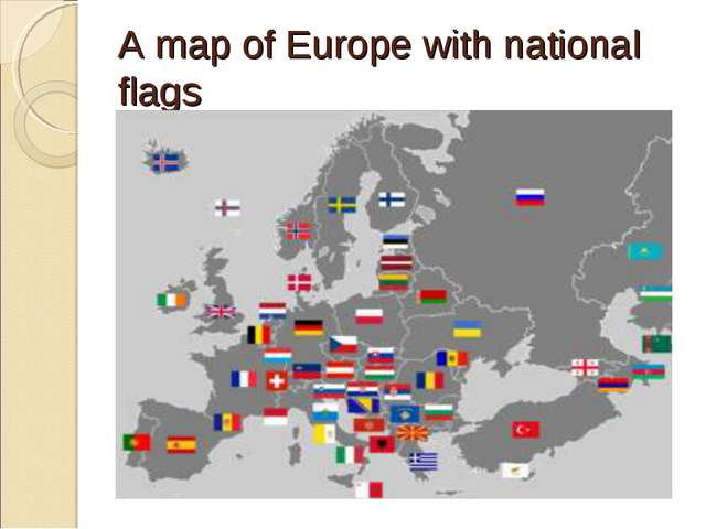 A map of Europe with national flags
