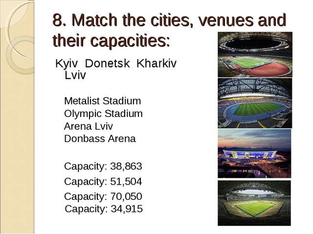 8. Match the cities, venues and their capacities: Kyiv Donetsk Kharkiv Lviv...