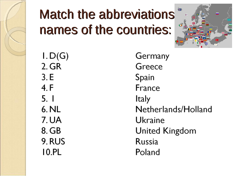 Match the abbreviations & names of the countries: