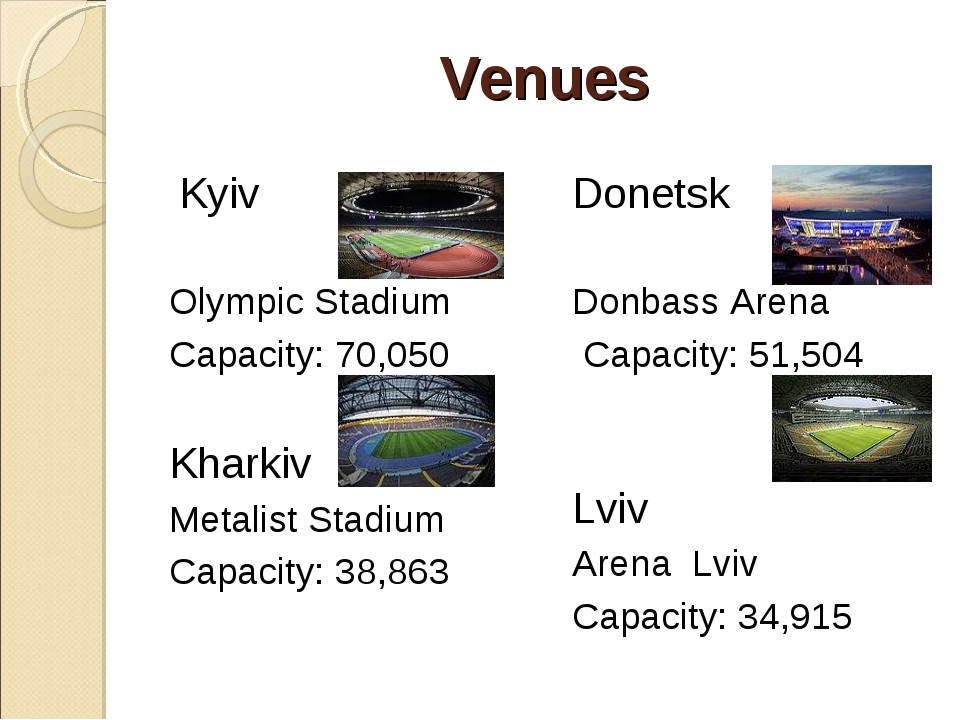 Venues Kyiv Olympic Stadium Capacity: 70,050 Kharkiv  Metalist Stadium Capa...