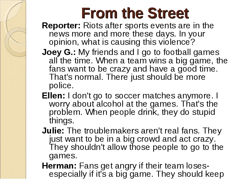 From the Street Reporter: Riots after sports events are in the news more and...