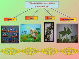 Используемые материалы в аппликации Бумага Ткань Кожа Природные