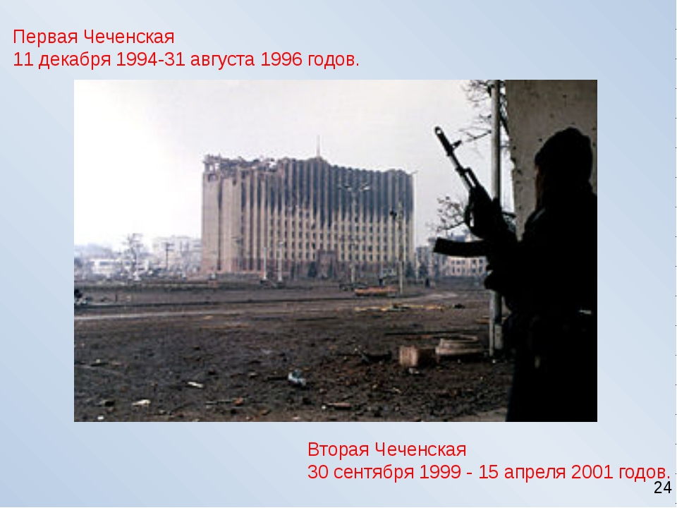 Первая Чеченская 11 декабря 1994-31 августа 1996 годов. Вторая Чеченская 30 с...