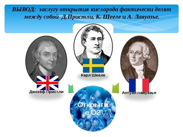ВЫВОД: заслугу открытия кислорода фактически делят между собой Д.Пристли, К....