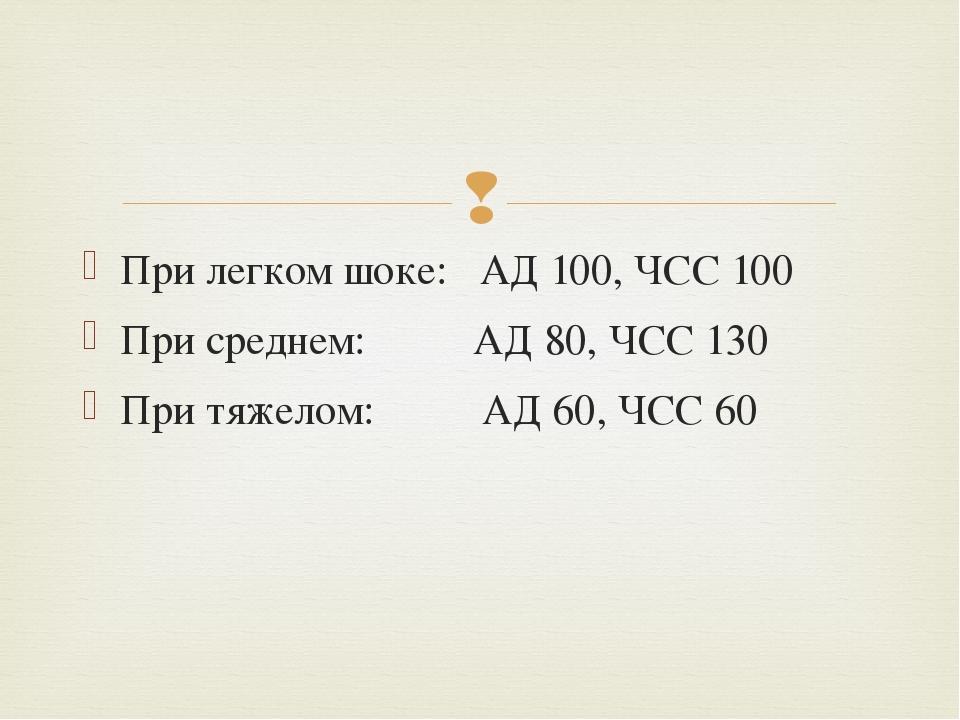 При легком шоке: АД 100, ЧСС 100 При среднем: АД 80, ЧСС 130 При тяжелом: АД...
