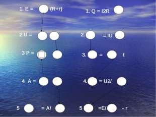 1. E = 1. Q = I2R 2 U = 2. = IU 3 P = 3. = t 4 A = 4. = U2/ 5 = A/ 5 . =E/ -