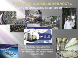Атомная промышленность Предприятие по производству ядерного топлива В 2011 го