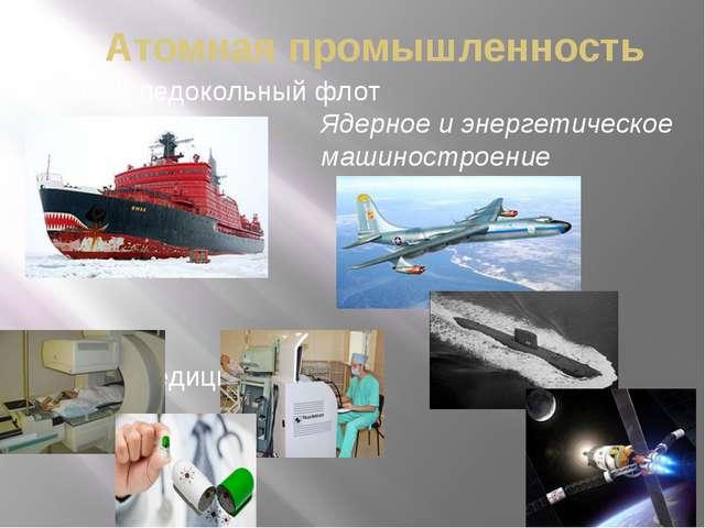 Атомная промышленность Атомный ледокольный флот Ядерная медицина Ядерное и эн...