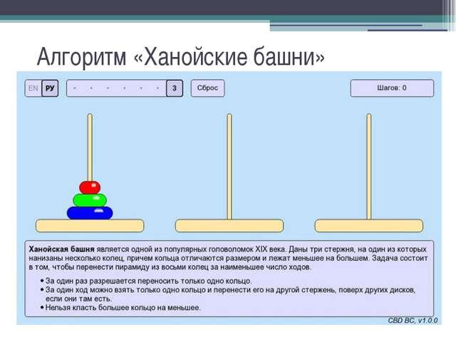 Алгоритм «Ханойские башни»