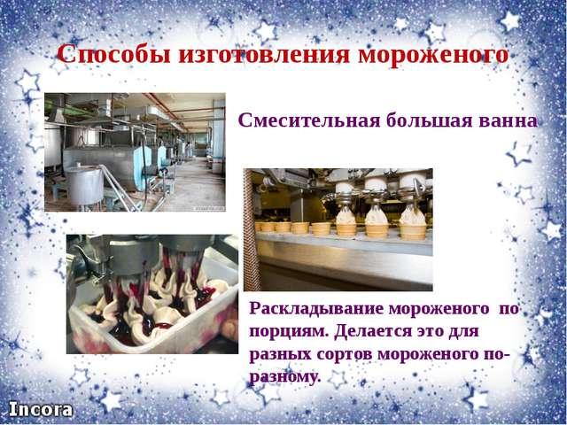 Способы изготовления мороженого Смесительная большая ванна Раскладывание моро...