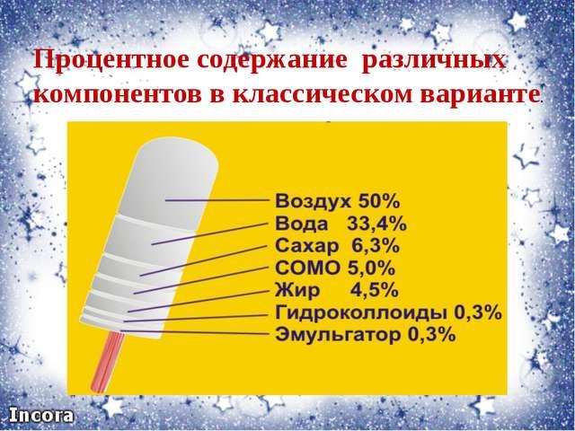 Процентное содержание различных компонентов в классическом варианте.