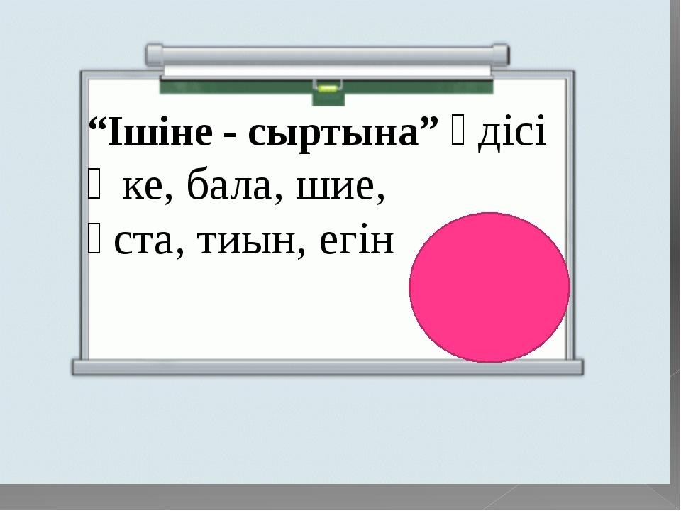 """""""Ішіне - сыртына"""" әдісі Әке, бала, шие, ұста, тиын, егін"""