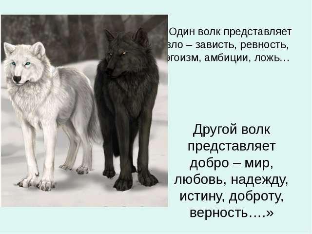 «Один волк представляет зло – зависть, ревность, эгоизм, амбиции, ложь… Друго...
