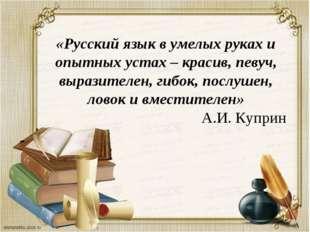 «Русский язык в умелых руках и опытных устах – красив, певуч, выразителен, ги