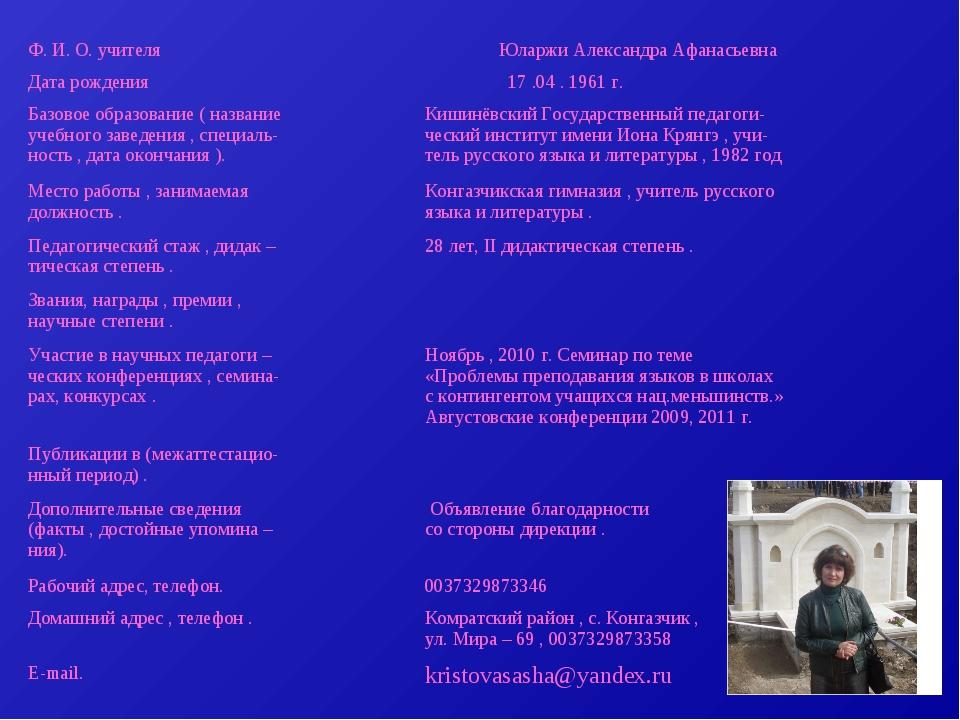 Ф. И. О. учителя Юларжи Александра Афанасьевна Дата рождения 17 .04 . 1961...