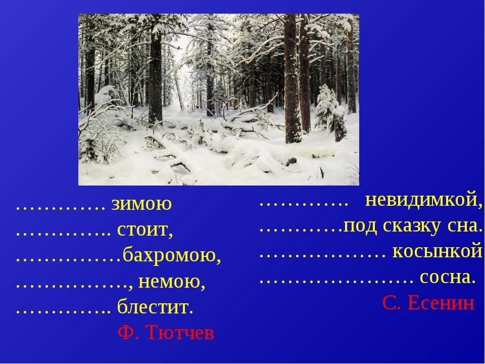 …………. зимою ………….. стоит, ……………бахромою, ……………., немою, ………….. блестит. Ф. Тю...