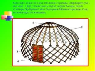 Киіз үйдің ағаш қаңқасы 3 бөліктен құралады. Олар:Кереге, уық, шаңырақ. Үйдің