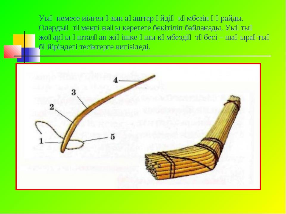 Уық немесе иілген ұзын ағаштар үйдің күмбезін құрайды. Олардың төменгі жағы к...