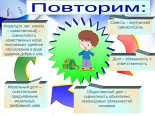 Совесть – внутренний самоконтроль Мораль(от лат. мoralis – нравственный) – с