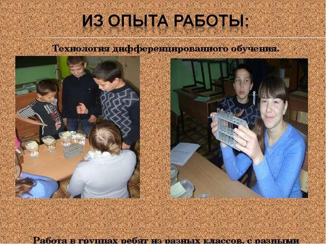 Технология дифференцированного обучения. Работа в группах ребят из разных кла...