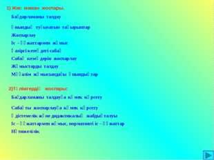 1) Жас маман жоспары. 2)Тәлімгердің жоспары: Бағдарламаны талдау Қиындық туғ