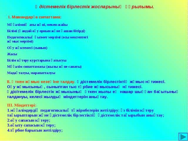 Әдістемелік бірлестік жоспарының құрылымы. І. Мамандарға сипаттама: ІІ. Өткен...