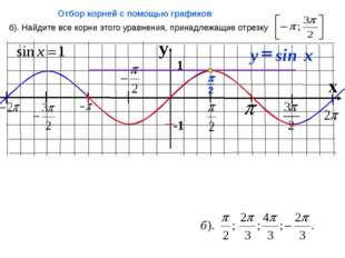 y x 1 -1 б). Найдите все корни этого уравнения, принадлежащие отрезку Отбор