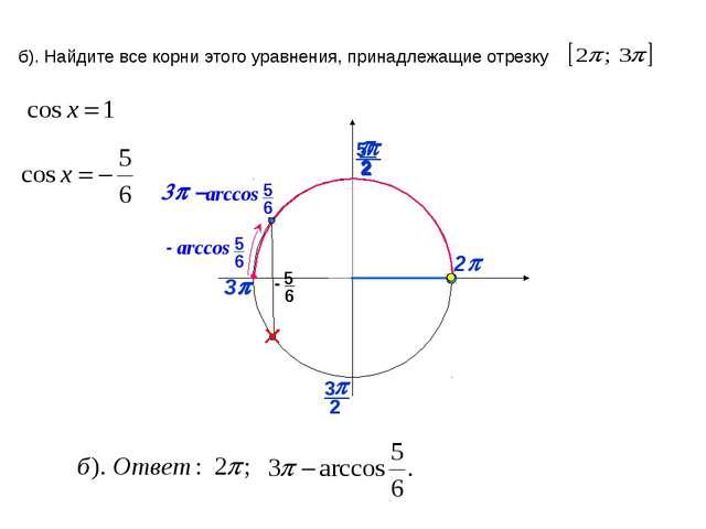2p p б). Найдите все корни этого уравнения, принадлежащие отрезку 3p 2 p 3 2...