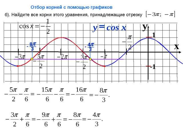 x б). Найдите все корни этого уравнения, принадлежащие отрезку Отбор корней...