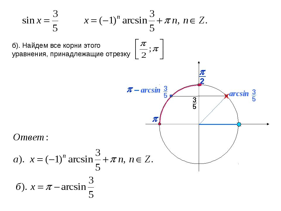 p arcsin 3 5 p – б). Найдем все корни этого уравнения, принадлежащие отрезку