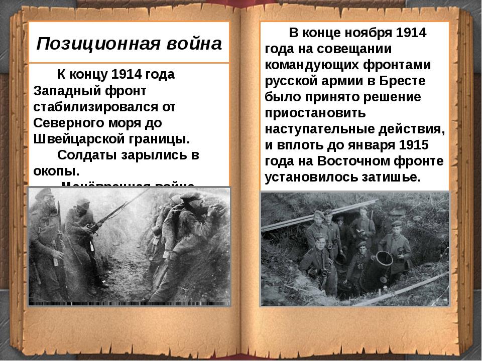 К концу 1914 года Западный фронт стабилизировался от Северного моря до Швейц...