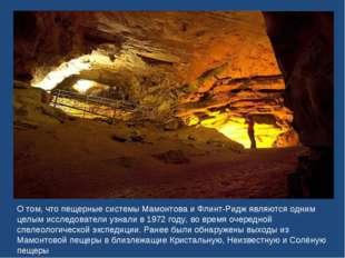 О том, что пещерные системы Мамонтова и Флинт-Ридж являются одним целым иссле