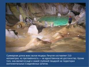 Суммарная длина всех залов пещеры Лечугия составляет 210 километров, но протя