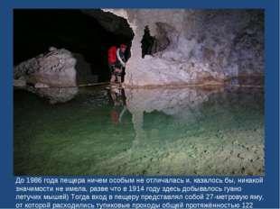 До 1986 года пещера ничем особым не отличалась и, казалось бы, никакой значим