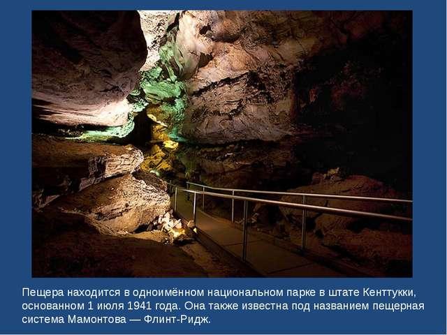 Пещера находится в одноимённом национальном парке в штате Кенттукки, основанн...