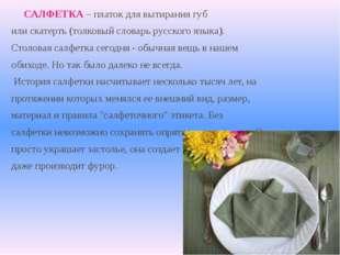 САЛФЕТКА – платок для вытирания губ или скатерть (толковый словарь русского