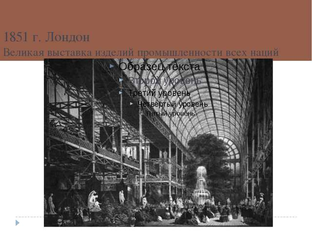 1851 г. Лондон Великая выставка изделий промышленности всех наций