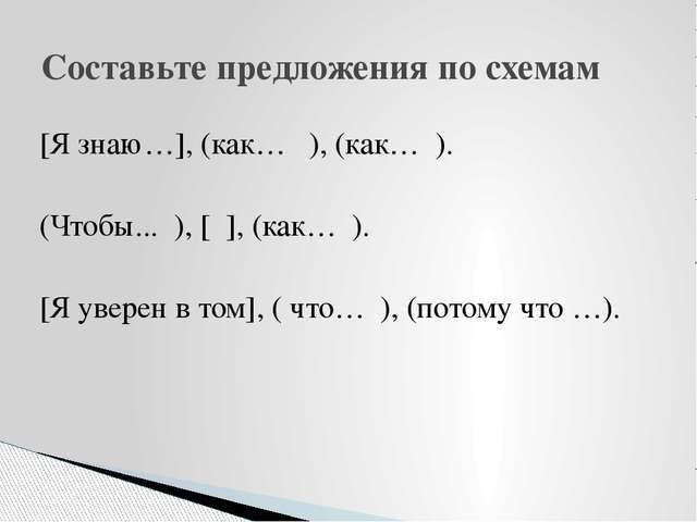 [Я знаю…], (как… ), (как… ). (Чтобы... ), [ ], (как… ). [Я уверен в том], ( ч...