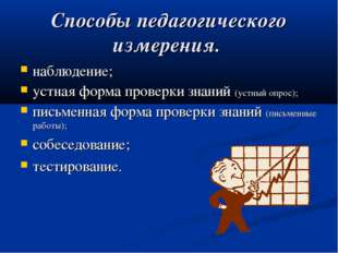 Способы педагогического измерения. наблюдение; устная форма проверки знаний (