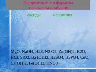 Распределите эти формулы по классам в таблицу MgO, NaOH, H2S, N2 O5, Zn(OH)2