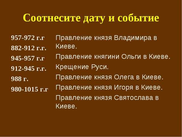 Соотнесите дату и событие 957-972 г.г 882-912 г.г. 945-957 г.г 912-945 г.г. 9...