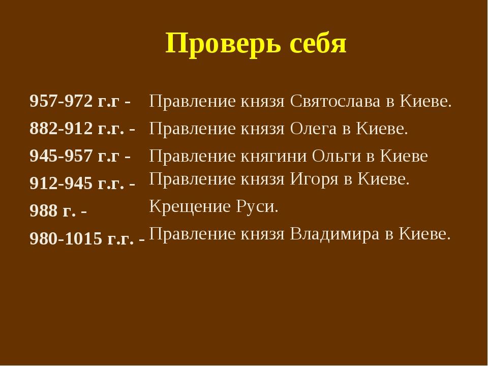 Проверь себя 957-972 г.г - 882-912 г.г. - 945-957 г.г - 912-945 г.г. - 988 г....