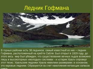 Ледник Гофмана В горных районах есть 38 ледников, самый известный из них – ле
