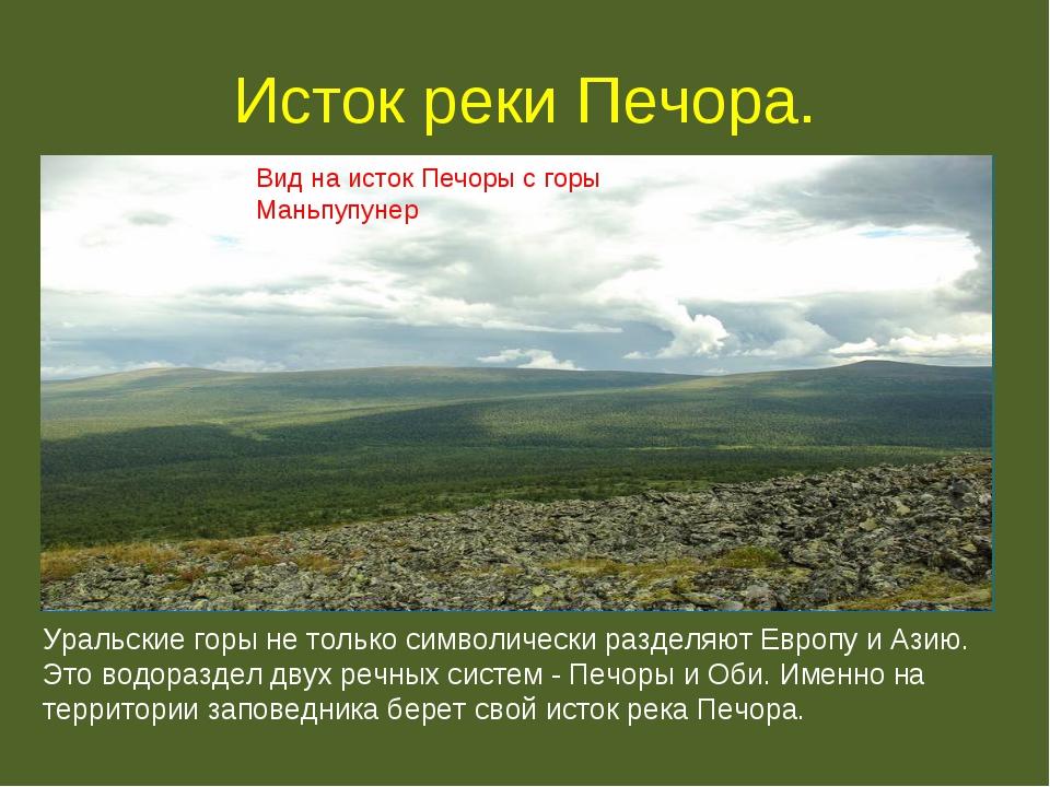 Исток реки Печора. Вид на исток Печоры с горы Маньпупунер Уральские горы не т...