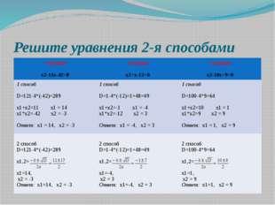 Решите уравнения 2-я способами 1 группа х2-11х-42=0 2 группа х2+х-12=0 3 груп