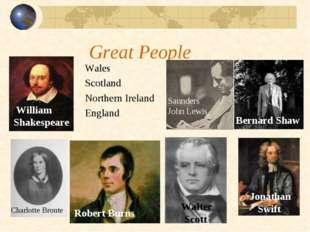 Great People Wales Scotland Northern Ireland England Charlotte Bronte Saunder