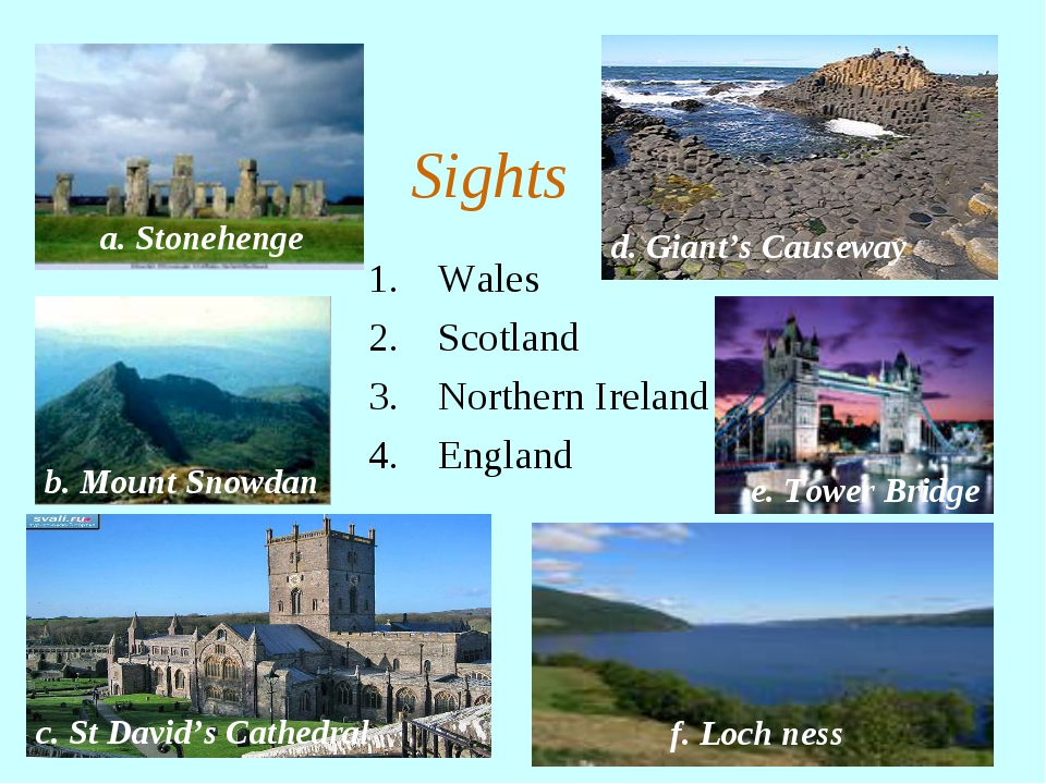 Wales Scotland Northern Ireland England Sights